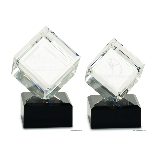 3-D cube on black base