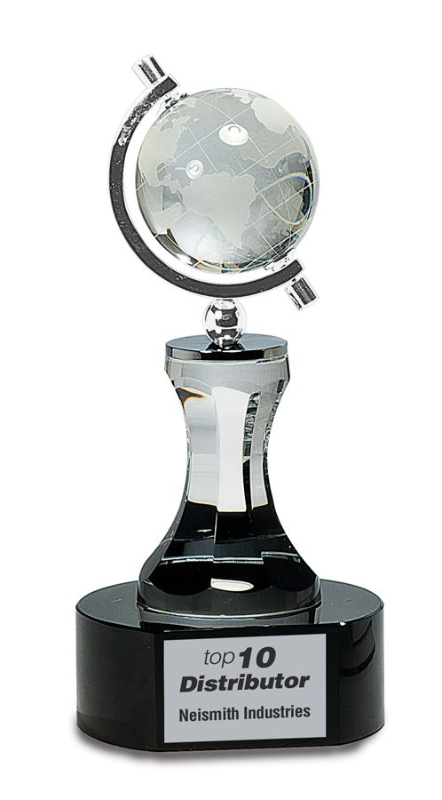 Crystal Spinning Globe on Clear Tower