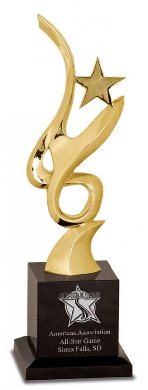 11 3/4 inch Gold Metal Art Crystal Award