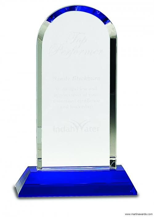 Crystal Award Dome on Blue Base