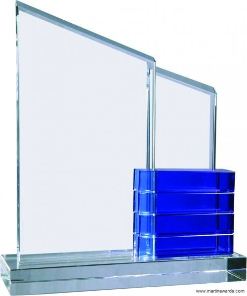 Justly Blue Blocks Crystal Perpetual Stand-up Plaque