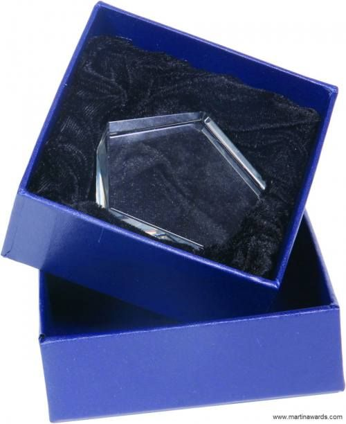 Pentagon Shaped Crystal Paperweight