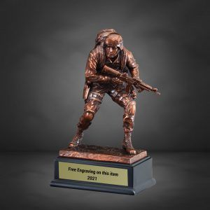 Casting Bronze US Marine Standing With Rifle Drawn Resin Trophy