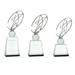 Crystal Award with Silver Metal Star