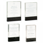 Clear Fusion Crystal Award with Black Marble