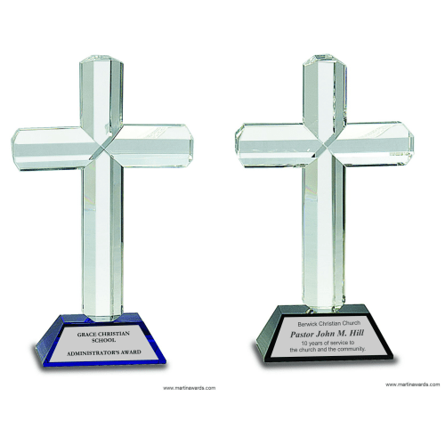 Crystal Cross Award on Pedestal Base
