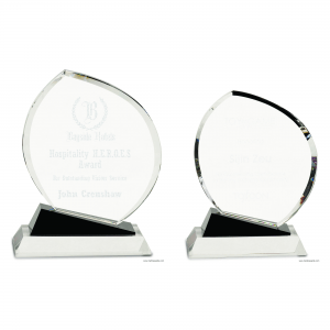 Oblong Crystal Award with Black Accents