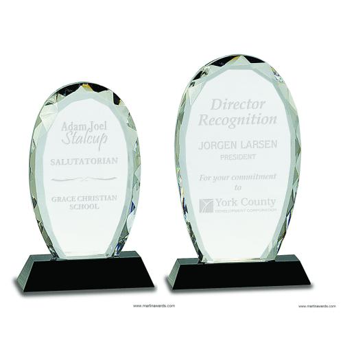 Crystal Facet Oval with Black Base Award
