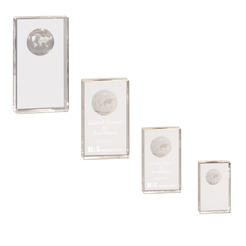 Crystal Rectangle with inset Globe