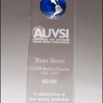 World Globe inset Crystal trophy