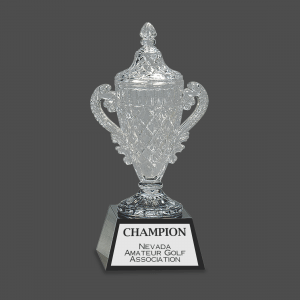 Crystal Trophy Cup on Pedestal Base