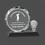 Round Facet Crystal with Golf Ball