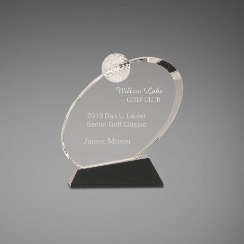 Oblong Crystal Golf Trophy