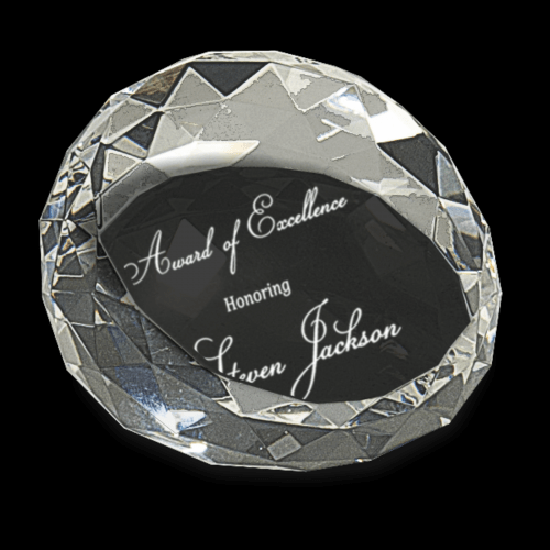 """2 1/2"""" x 1 3/4"""" Clear Round Crystal Facet Paperweight"""