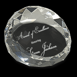 "3 1/2"" x 2"" Clear Round Crystal Facet Paperweight"