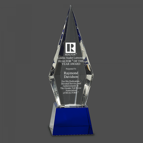 Obelisk Faceted Crystal on Blue Pedestal Base