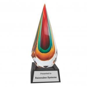 Kaleidoscopic Rain Drop Art Glass Award