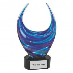Blue and Gold Crescent Art Glass Award