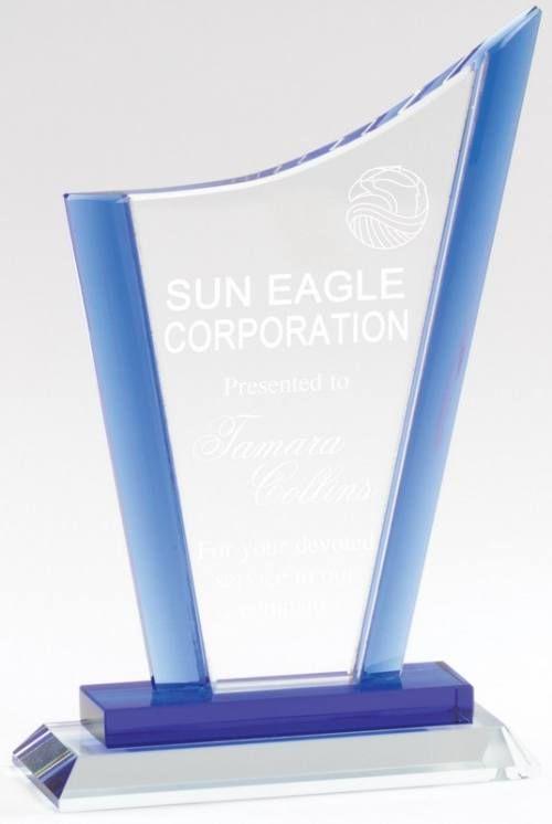 Blue Curved Peak Crystal Award