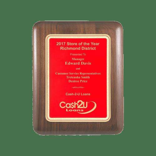 Red Walnut Aero Edge Plaque