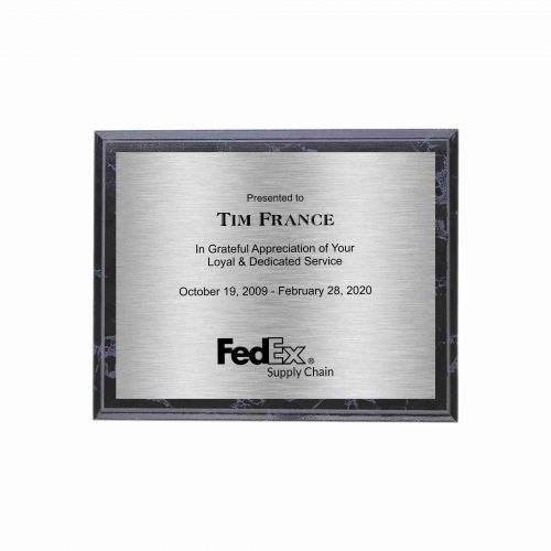 Black Marble finish Plaque with Silver Plate
