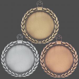 "2 1/2"" Antique Wreath 2"" Insert Holder Medal"