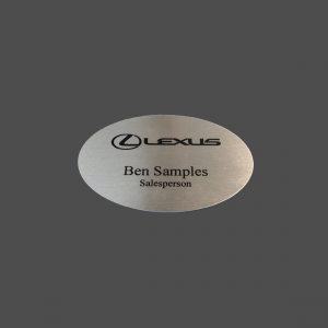 """2"""" x 3"""" Oval Silver with Black Dye-Etch Name Badge"""