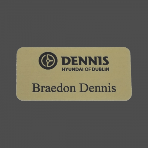 Gold Satin Metal Name Badge