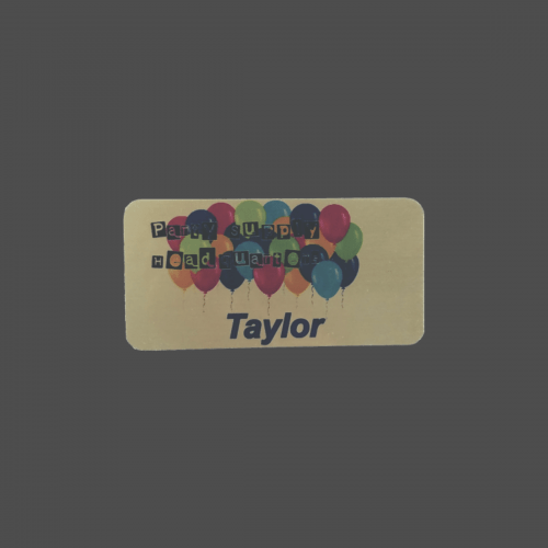 "1 1/2"" x 3"" Gold Metal Full Color Name Badge"