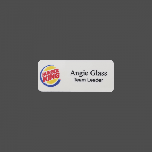 "1 1/4"" x 3"" White Plastic 4-Color Process Name Badge"