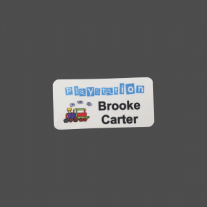 "1 1/2"" x 3"" White Plastic 4-Color Process Name Badge"