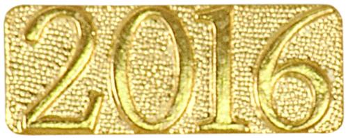 Gold 2016 Metal Chenille Letter Insignia