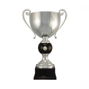"22 3/4"" Silver plated Italian trophy cup with coin inset"