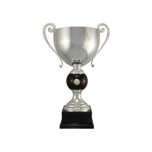 "19 3/4"" Silver plated Italian trophy cup with coin inset"