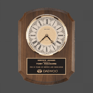 Brass Grandfather Face Walnut Clock