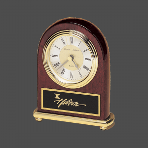 Rosewood Piano-Finish Arch Clock with Brass Accents