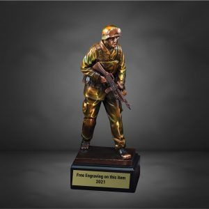 Army Soldier with Rifle on Patrol Trophy