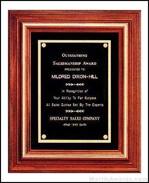 Solid Walnut Frame Plaques with Gold Trim and Black Velour