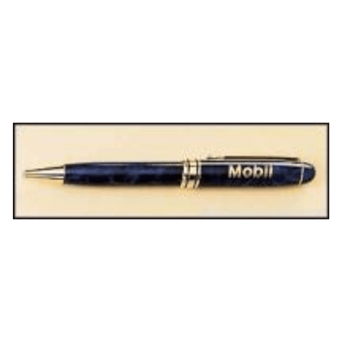 Blue Sapphire Marble Pen with Gold Trim 1