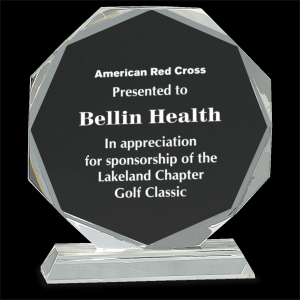 """6 1/4"""" Clear Crystal Octagon on Clear Pedestal Base (1 Day Rush)"""
