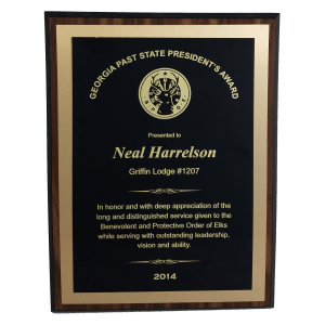 "9"" x 12"" Walnut Finish Plaque with Brass Face plate & Gold Back plate (1 Day Rush)"