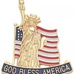God Bless America Lapel Pin with Statue of Liberty