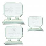Rectangle Crystal Award on Clear Pedestal Base