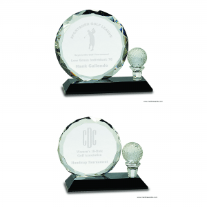 Golf Ball with Tee Crystal Award