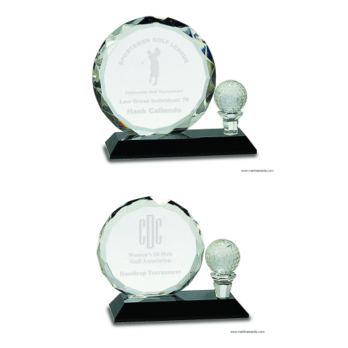 Golf Ball with Tee Crystal Award