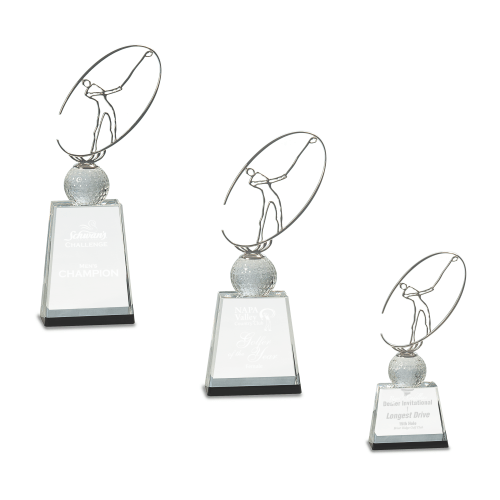 Crystal Golf Award with Silver Metal Oval Figure