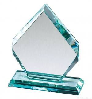 Diamond Jade Faceted Glass Award
