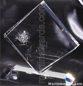 "Crystal Glass Awards - 6 1/2"" x 7"" Genuine Prism Optical"
