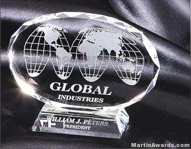 Oval Genuine Crystal Glass Award Genuine Prism Optical Crystal With Base