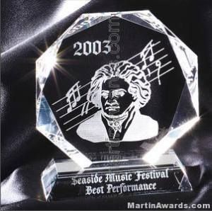 Mozart Octagon Crystal Awardnuine Prism Optical Crystal